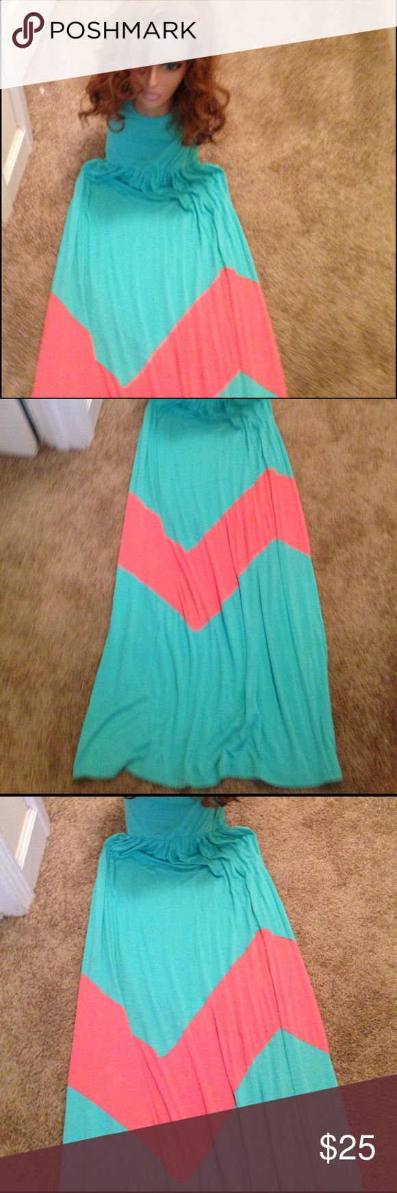 ❤️❤️❤️ Isn't this cute ❤️❤️❤️ Maxi 👗 dress in turquoise and peach 🍑 J Mode Dresses Maxi