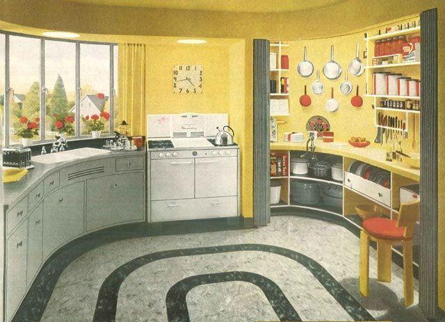 1940s home architecture | 1940s Kitchen Design - Image: Creative Commons License - Public Domain ...