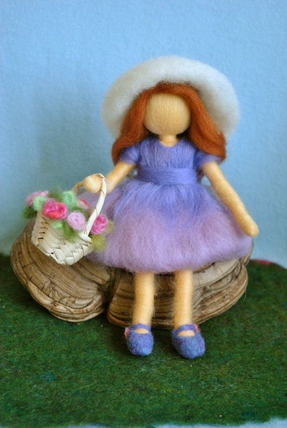 Waldorf inspired needle felted doll: The girl with hat and a basket of roses