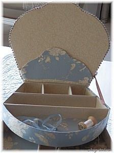 Cartonnage - délices de brodeuse… - boite à chapeaux - une nouvelle boite - valisette chinée… - boite bleue - BIENVENUE CHEZ TALOU