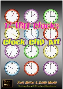 12 Clip Art Clocks for FREE! These clocks are all ON THE HOUR.