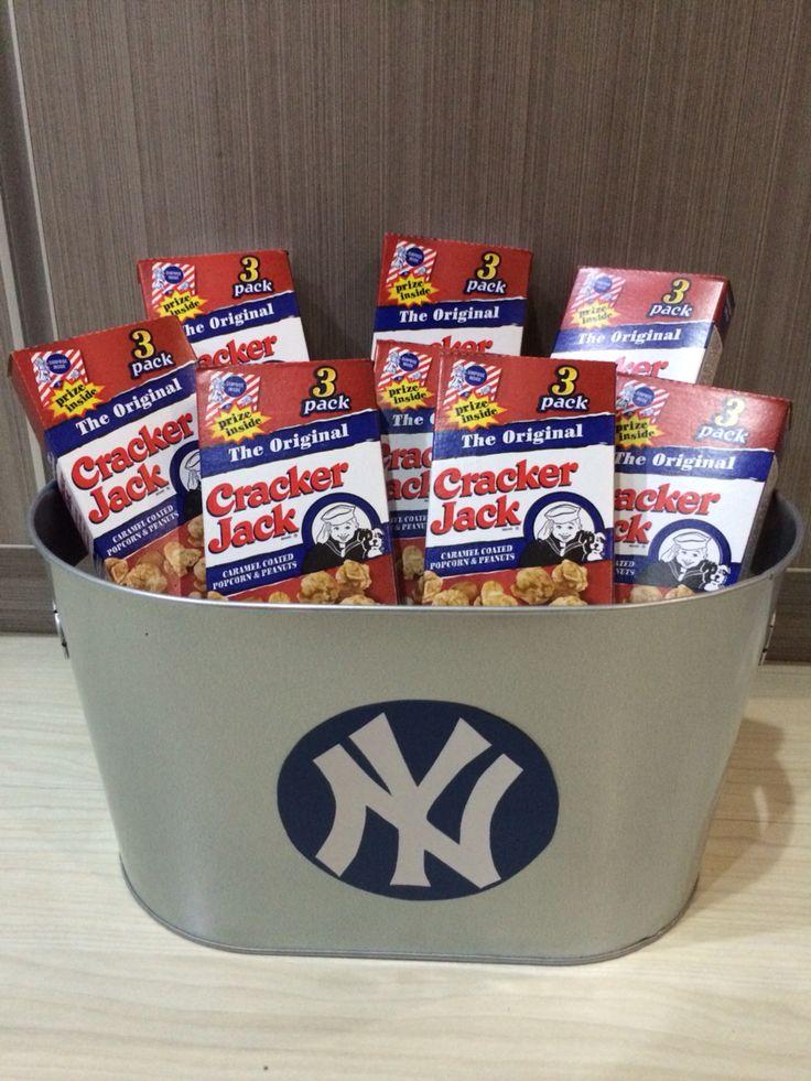 Bucket Of Cracker Jacks For Ny Yankees Themed Party