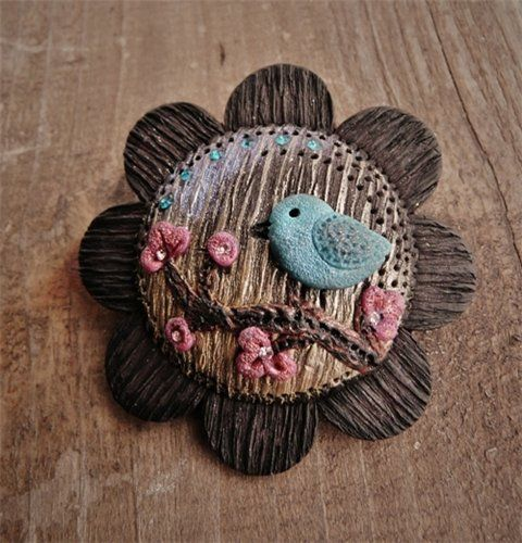 polymerclayfimo: love the colors and applique technique