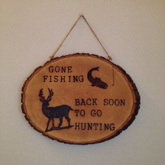 Made-to-order Wood burned 'Gone Fishing' wall hanging plaque on Etsy, $45.00 CAD