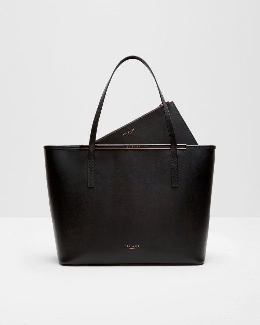 Crosshatch leather shopper bag - Black | Bags | Ted Baker UK