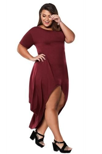 2251c28b512 Burgundy Plus Size Hi-Lo Slit Jersey Knit Maxi Dress – PlusSizeMe.co.