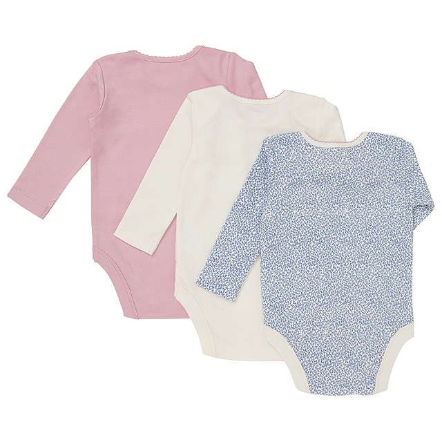 BuyJohn Lewis Baby Floral And Plain Bodysuits, Pack of 3, Pink/Blue, Newborn Online at johnlewis.com