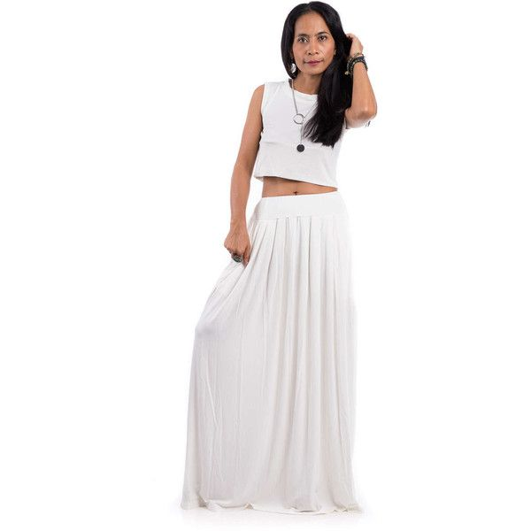 Maxi Skirt Off White Skirt Long White Skirt Women's Skirt White Skirt... ($55) ❤ liked on Polyvore featuring skirts, silver, women's clothing, long pleated maxi skirt, long white skirt, long maxi skirts, long evening skirts and long pleated skirt