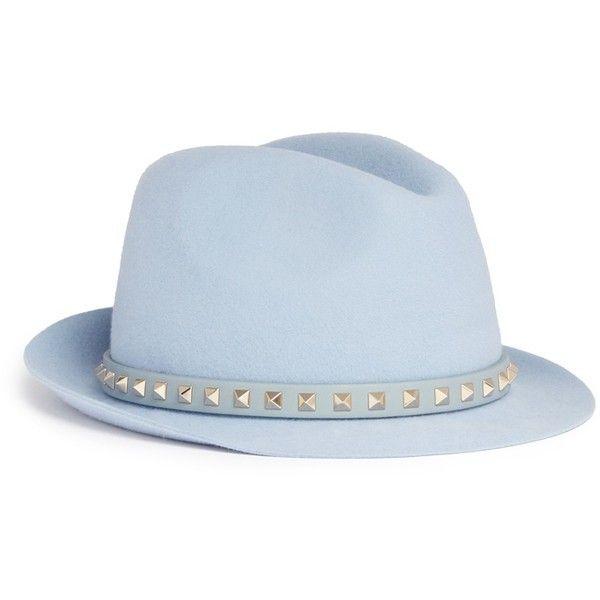 Valentino 'Rockstud' band rabbit furfelt fedora hat (31.065 RUB) ❤ liked on Polyvore featuring accessories, hats, blue, blue fedoras, anchor hat, rabbit fur hat, blue hat and fedora hat