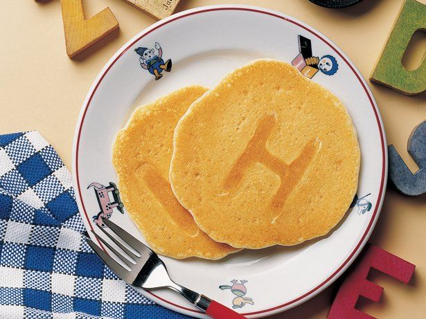 A, B, C, D, E, F, G! Make easy pancakes the kids will love to eat! Not so much the recipe as the idea of letters or numbers for bdays!