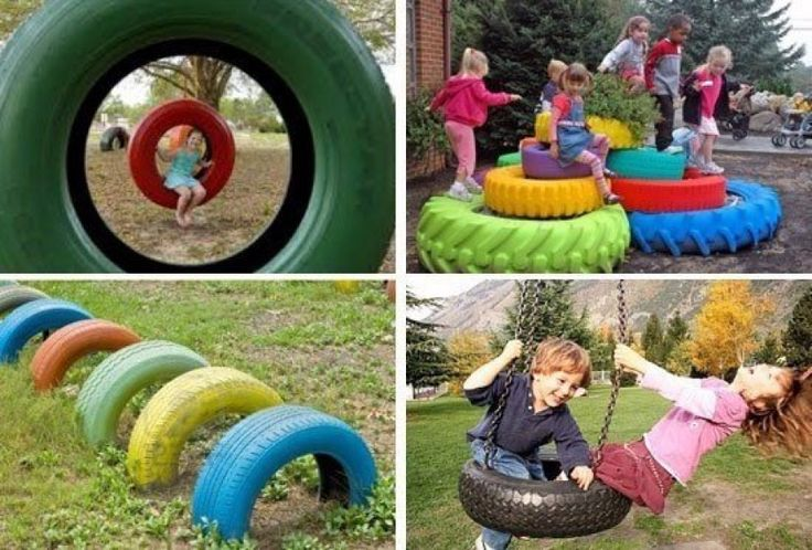the old tires on the Playground