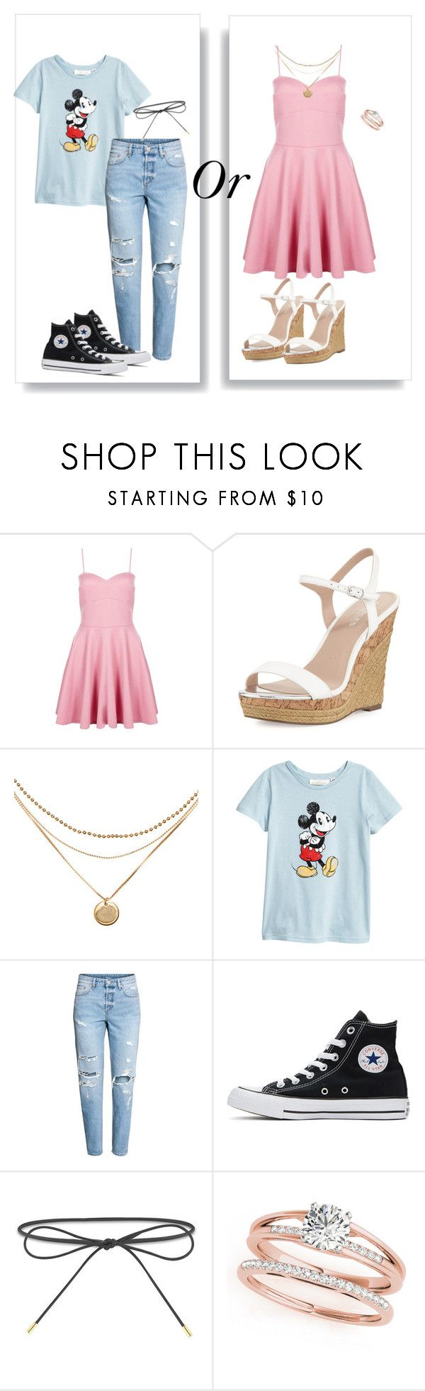 """Which one?"" by elizabethpolky ❤ liked on Polyvore featuring Boohoo, Charles by Charles David, Converse and Elizabeth and James"