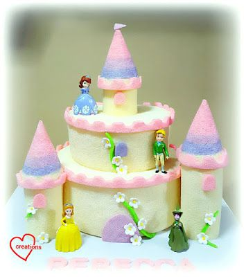 Loving Creations for You: 'Princess Sophia' Ombre Tier Castle Chiffon Cake