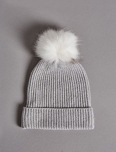 J2017 Pure Cashmere Bobble Winter Hat | M&S