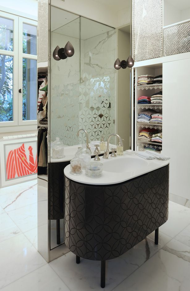 bathroom white marble and vanity n residence in sursock by raed abillama - Bathroom Cabinets Beirut Lebanon