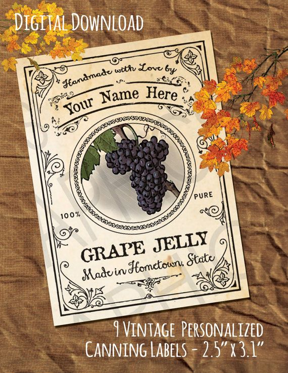 PERSONALIZED Canning Labels Grape Canning by WAGlacierGraphics