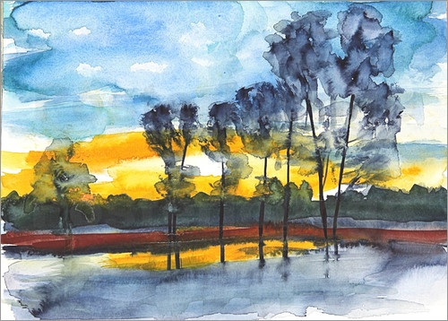 Evening of Delight - Aquarell einer Flusslandschaft im Sonnenuntergang