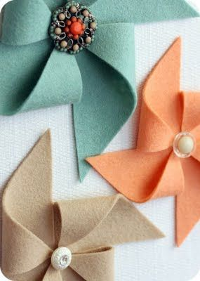 """Felt pinwheels. Love the vintage button! These are so cute secured to a homemade card. Just add a stem and you have a darling """"flower."""""""