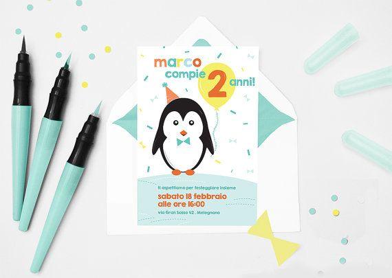 Invito festa compleanno a tema 'Pinguino' . di arrivalacicogna