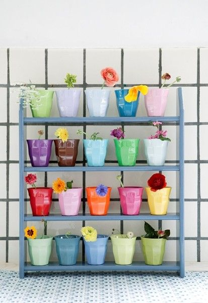Colourful cups as planters
