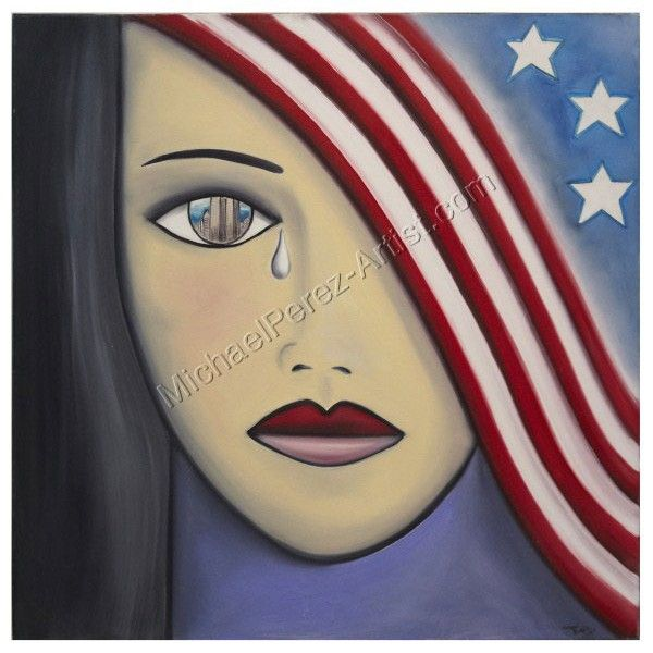 """Michael Perez- painted this live on the NBC Today show in memory of the 9/11 victims & families. """"America the Beautiful"""", 2001"""