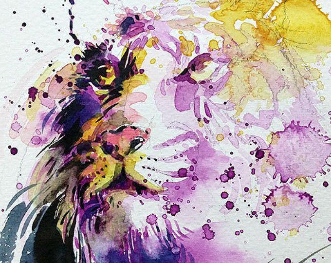 Tijger • waterverf met gouache 13.3 x 20 cm • origineel schilderij