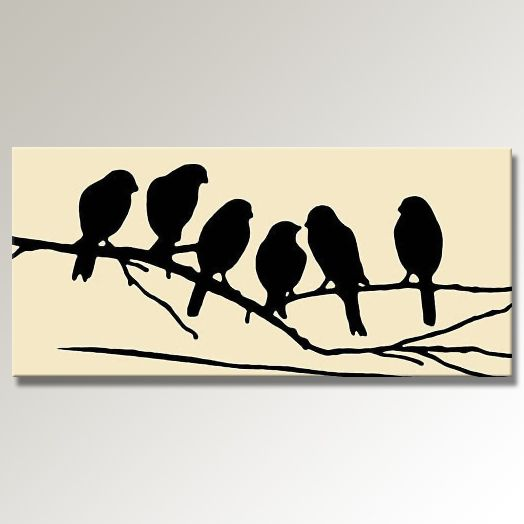 """Printable Bird On Branch Silhouette 