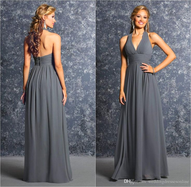 Buy wholesale jr bridesmaids dresses,modest bridesmaid dress along with modest bridesmaid dresses under 100 on DHgate.com and the particular good one- summer grey long wedding bridesmaid dresses 2016 pleated chiffon halter corset floor length a-line zipper formal prom dress gowns hot sale is recommended by weddingdressesonline at a discount.
