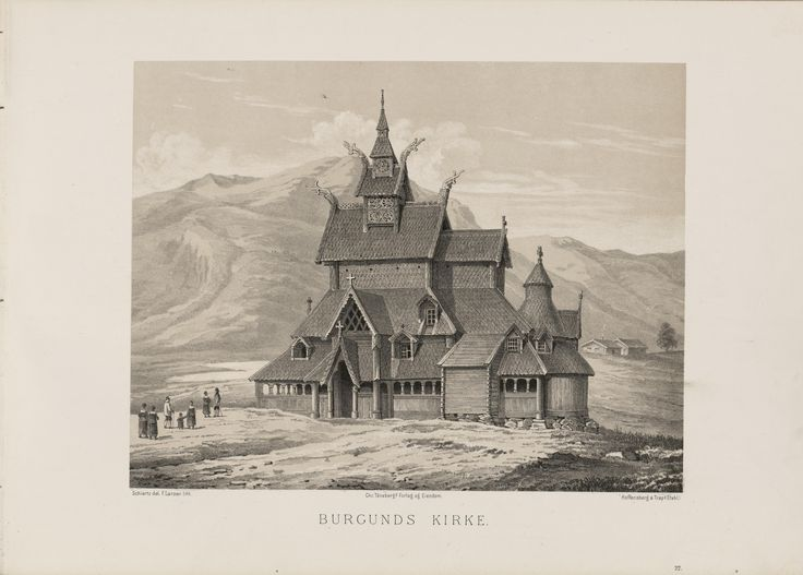 Norge fremstillet i Tegninger - Franz Wilhelm Schiertz - Borguns Kirke. jpg (6080×4360)