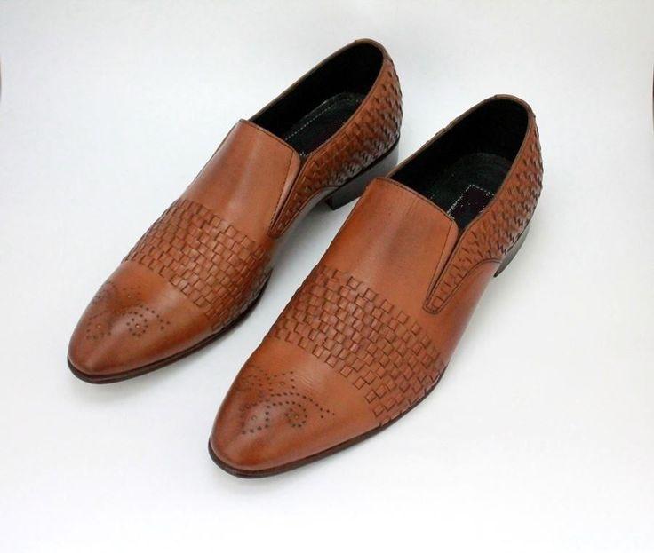 Custom Handmade Men Tan brogue shoes, Men hand knitted strap formal brogue shoes #Handmade #LoafersSlipOns #Formal