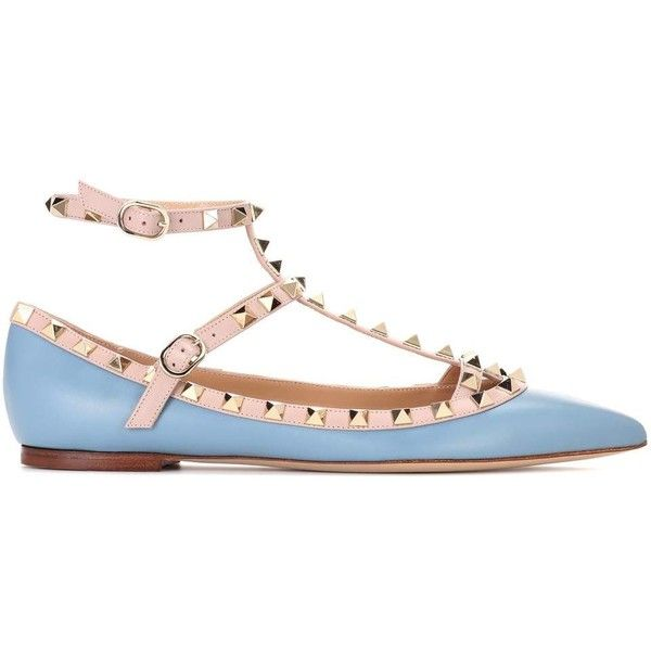 Valentino Valentino Garavani Rockstud Leather Ballerinas (5,865 CNY) ❤ liked on Polyvore featuring shoes, flats, leather ballet flats, blue ballerina flats, leather shoes, valentino flats and blue ballet shoes