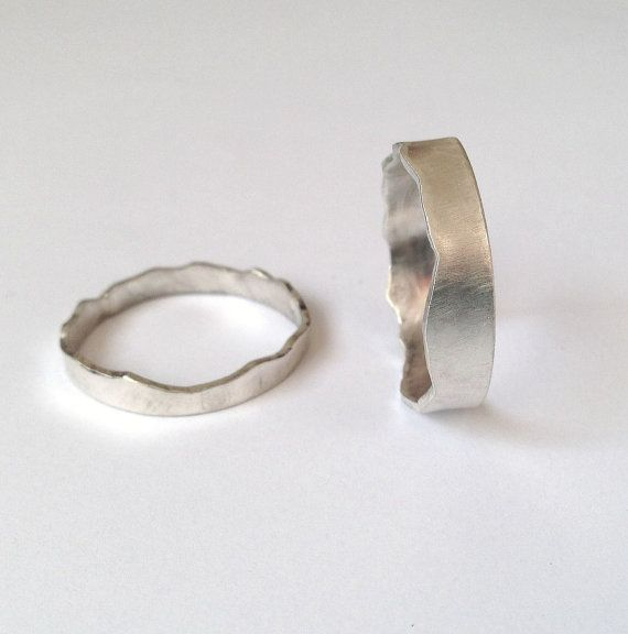 Silver Interlocking Rings - Two Mountain Range Rings- Coast Ring - Wedding Ring - Couples - Wide Band - Sterling - Unisex Men's - Recycled Wedding bands like this would be so full of rich meaning.