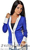 Женский стильный пиджак сине-белый 1131