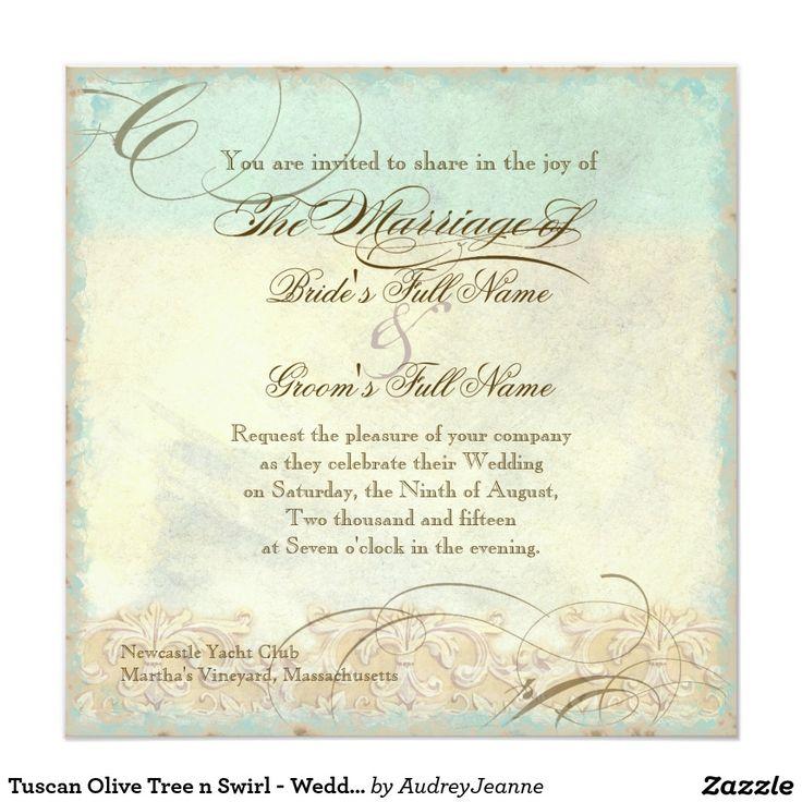 Toskanischer Strudel des Olivenbaum-n - Quadratische 13,3 Cm Einladungskarte