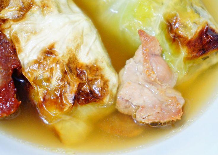 Суп с овощными голубцами фото