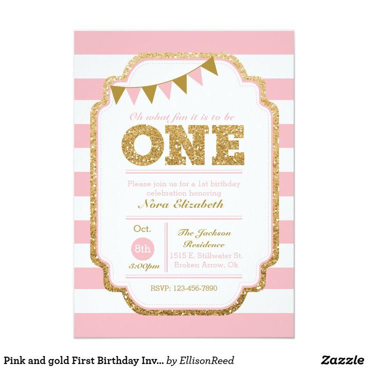 248 best birthday invites kids images on pinterest invites pink and gold first birthday invitation filmwisefo