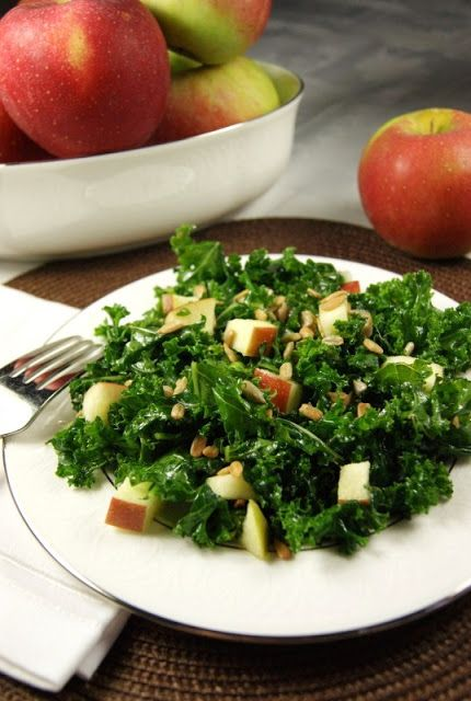 Kale & Apple Salad with Honey ... with a secret preparation method to tenderize the kale. www.thekitchenismyplayground.com #kale #kalesalad #honey
