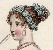 fillet A wire-stiffened string or braid of fabrics and/or pearls, twisted into an evening hairstyle. The fillet was a part of general passion for all things antique in the late 18th and early 19th centuries, as fillets were often seen in Greek and Roman sculpture, frescoes, coins, and medallions.