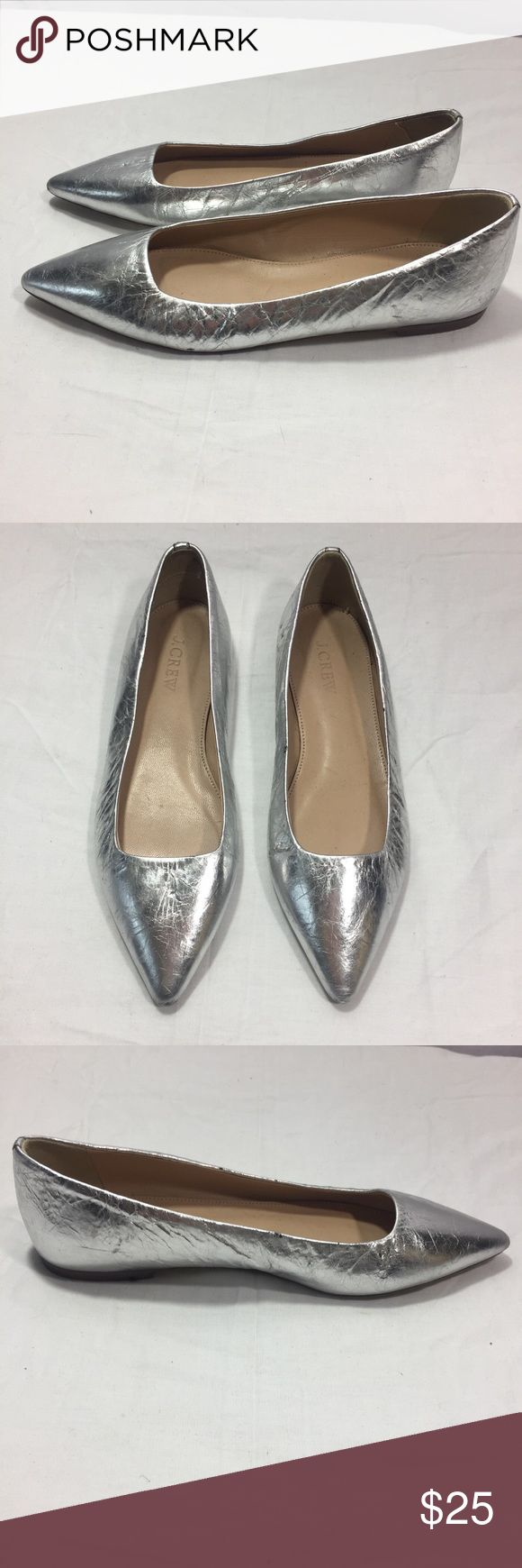 J CREW Silver Flat Shoes Sz 5.5 ***All Best Reasonable Offers Accepted!***  Details: These J. Crew silver flats are super cute. They have a pointed toe and reflect color well.Small (less than 1/2 inch) heel.Scuffs on bottom of shoes and some markings on shoe.Measurements (approx..)Sole Length: 10 Inches(Length across the outside bottom of the shoe from the toe to the heel) J. Crew Shoes
