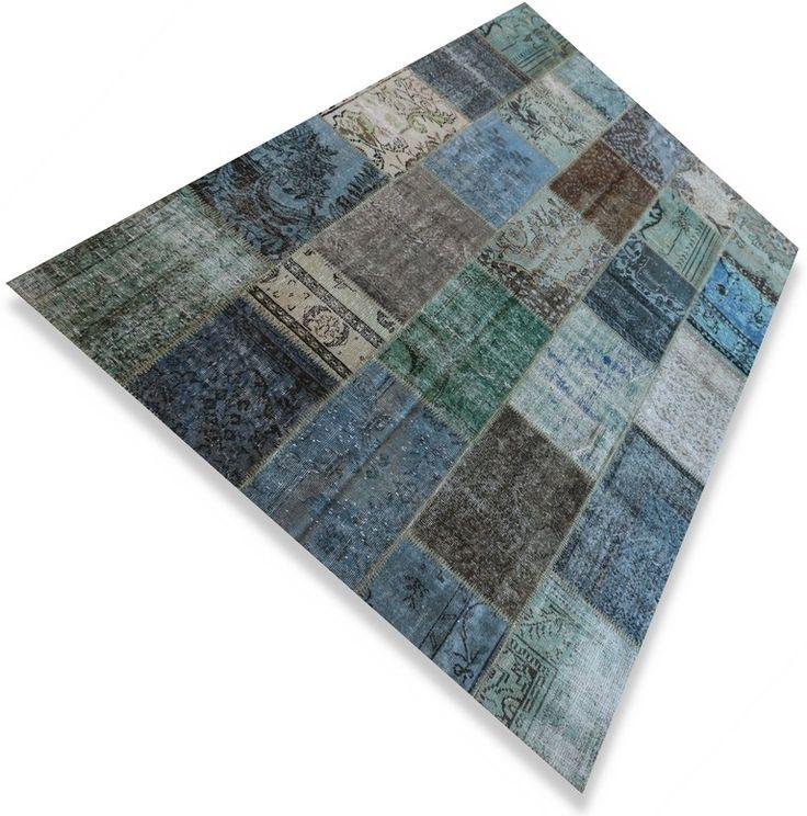Vintage Patchwork vloerkleed / tapijt / kleed blauw / grijs / groen - Serozatapijten.nl