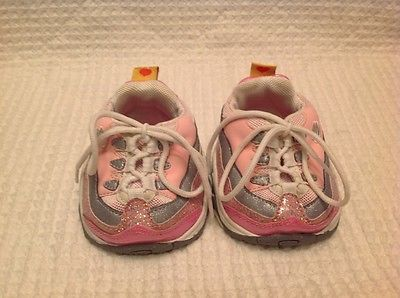 Build a Bear PINK & WHITE SKECHERS Tennis Shoes & Glitter Laces FREE SHIPPING