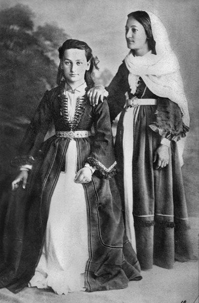 The Dudarov sisters. Dressed in traditional Ossetian cloths. Northern Ossetia. The Ossetians. Photographer D.A. Nikitin. 1881.