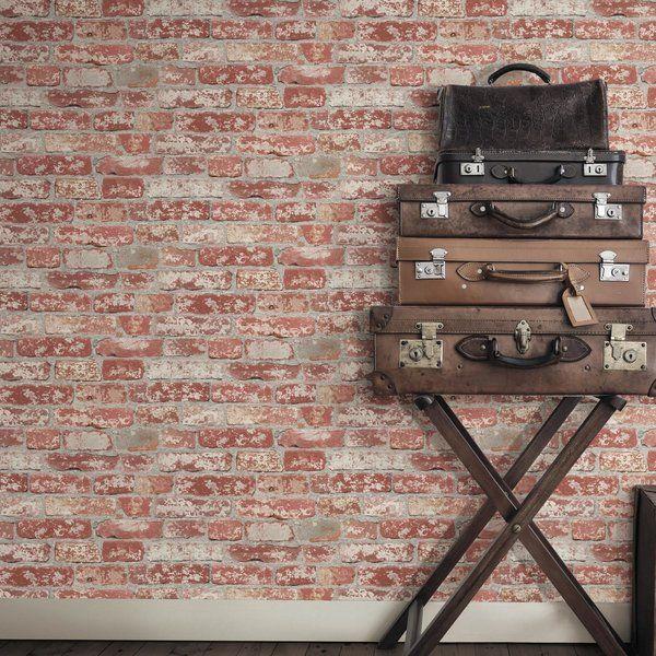 Joetta Stuccoed 16 5 L X 20 5 W Brick Peel And Stick Wallpaper Peel And Stick Wallpaper Peelable Wallpaper Room Visualizer