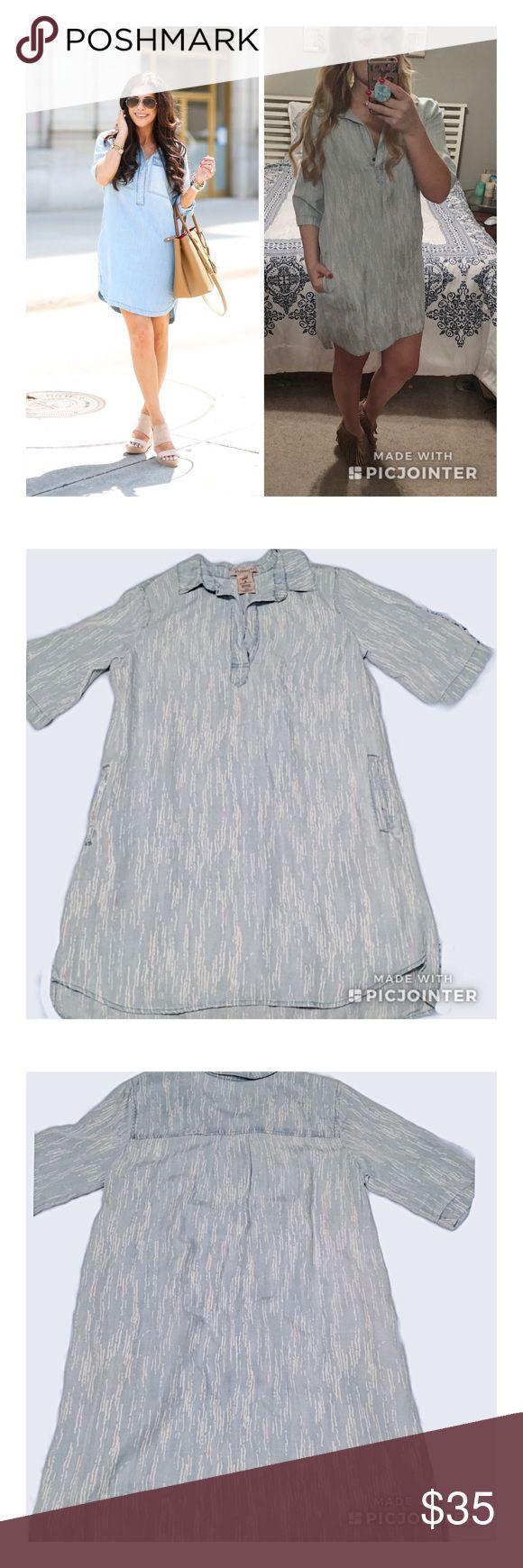 Philosophy meteor stripe chambray shirt dress Super cute chambray shirt dress by philosophy! No flaws, measurements pending. Philosophy Dresses Midi
