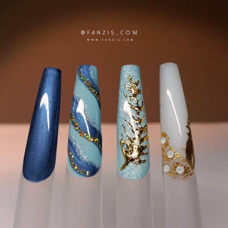 #blue #winter #nails #nailart #glitter #fanzis