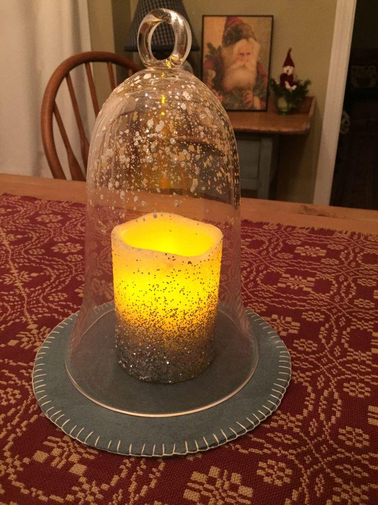 Glass Bell Jar Cloche w/ Glitter Flicker Pillar Candle & Wool Mat