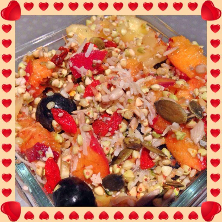 Fruit salad with homemade gluten free muesli