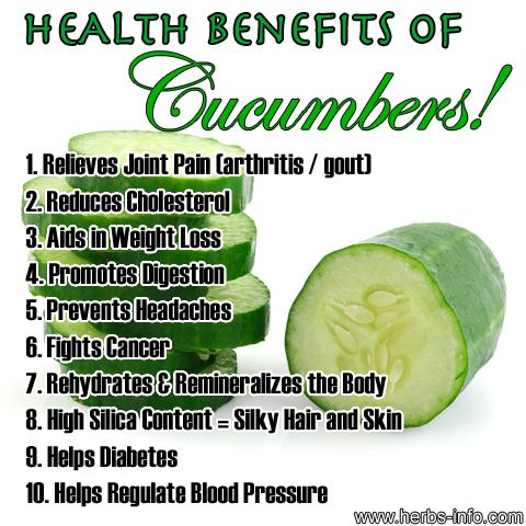One of the most popular and widely grown of all vegetables, cucumbers are considered beneficial to health for numerous reasons. We've picked out 10 benefits of cucumbers for you to learn about. Note - as with other salad vegetables, it's important to wash them properly first. Organic produce is recommended so as to avoid intake of pesticide sprays.