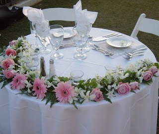 Pretty In Pink   Bride And Groom Table