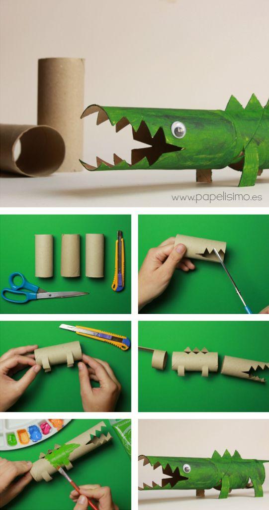 Cocodrilo con rollos de papel higiénico | http://papelisimo.es/cocodrilo-con-rollos-de-papel-higienico/